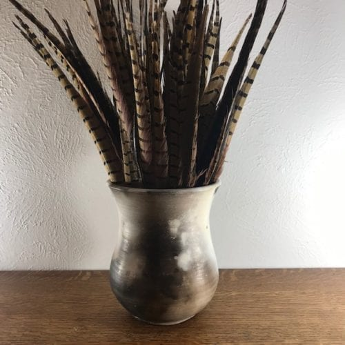 Snailseed-pit-fired-vase-w-feathers