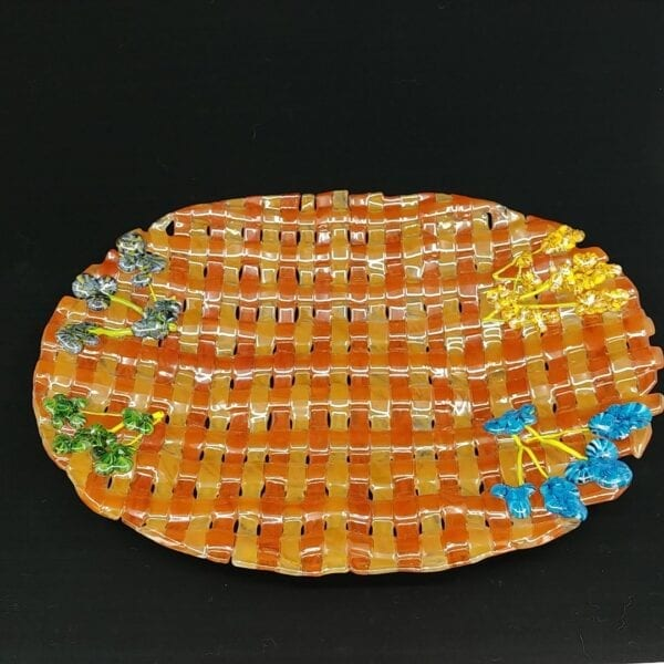Fused Glass Weaved Basket Platter